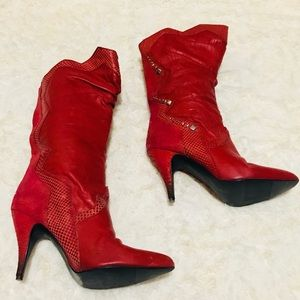 Sexy Red Leather Pointed Toe High Heeled Boots